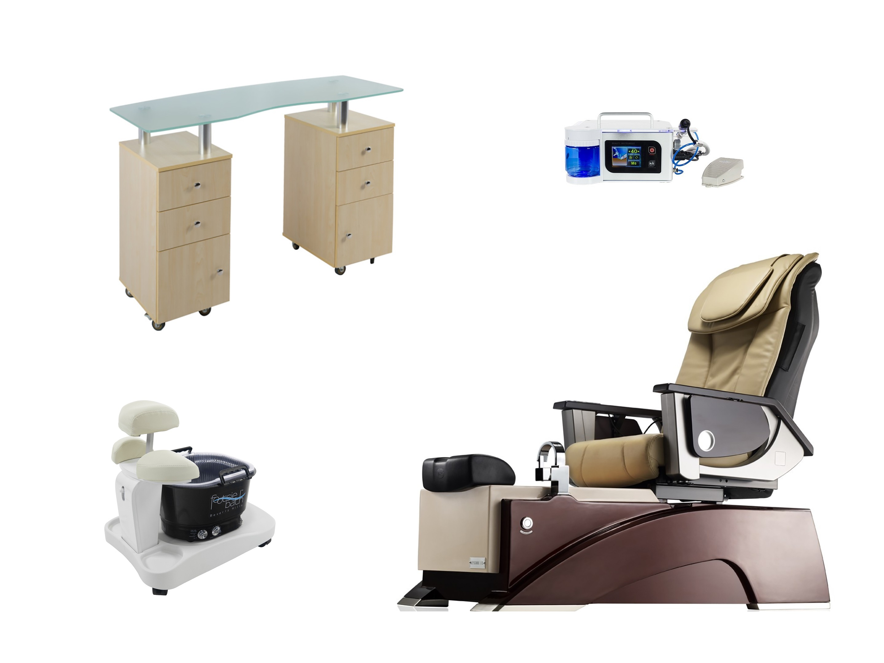 Manicure, pedicure equipment, chair, table system