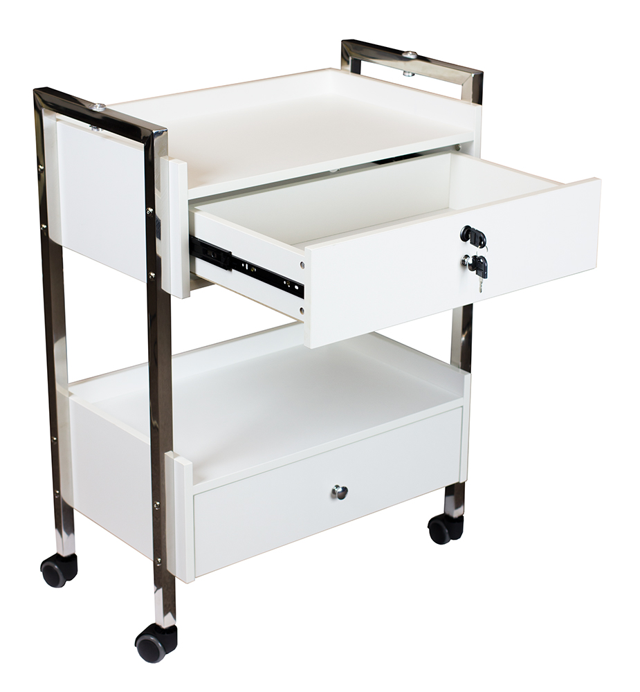 This Black Foldaway Rolling Salon Service Tray is modeled after one of the best salon carts (Kayline FTC has been discontinued) on the market that provide the most convenience. The perfect salon trolley with a towel holder, it is a rollabouts cart that can be moved easily throughout the salon and it is a foldable coloring utility cart.