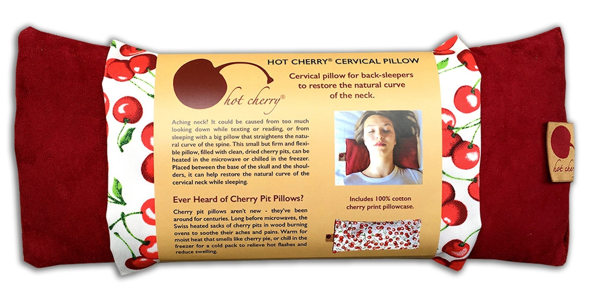 Hot Cherry 6M Red Maraschino Cervical Therapeutic Pillow With Case