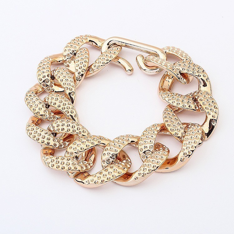 Thick Gold Textured Chain Link Bracelet