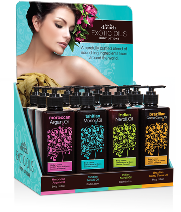 Body Drench Exotic Oils Body Lotions 12 Piece Display