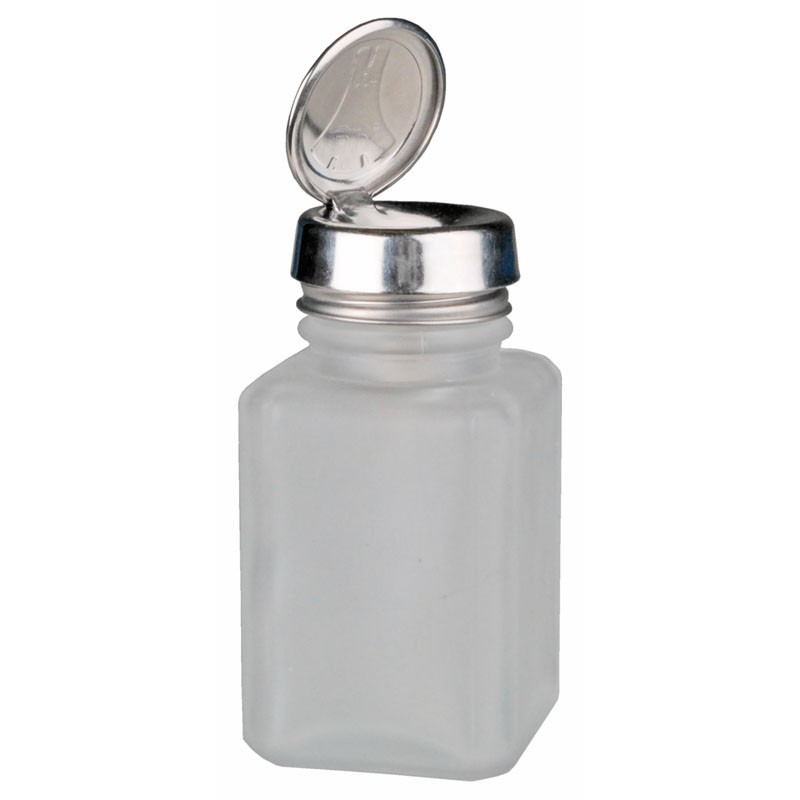 Menda One Touch, SS, Square, Glass Clear Frosted, 6 Oz