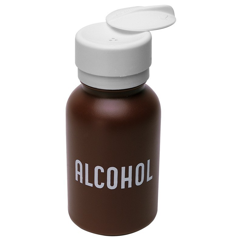 Menda Lasting Touch, Brown Round HDPE, 8 Oz Imprinted 'ALCOHOL'