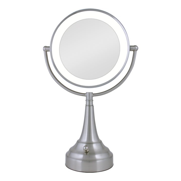 Zadro Cordless Dual-Sided LED Lighted Round Vanity Mirror 1X/10X