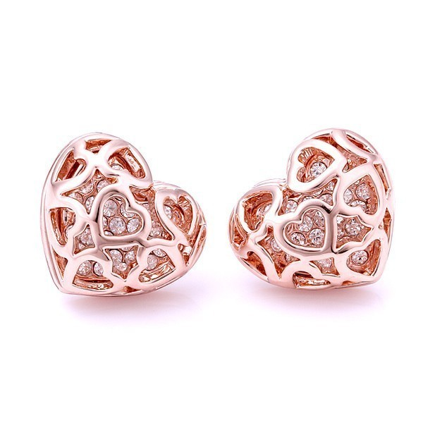 Gold Plated Heart Earrings with Rhinestones