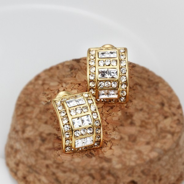 14k Gold Plated Earrings With Clear Stones