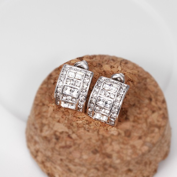 14k White Gold Plated Earrings With Clear Stones