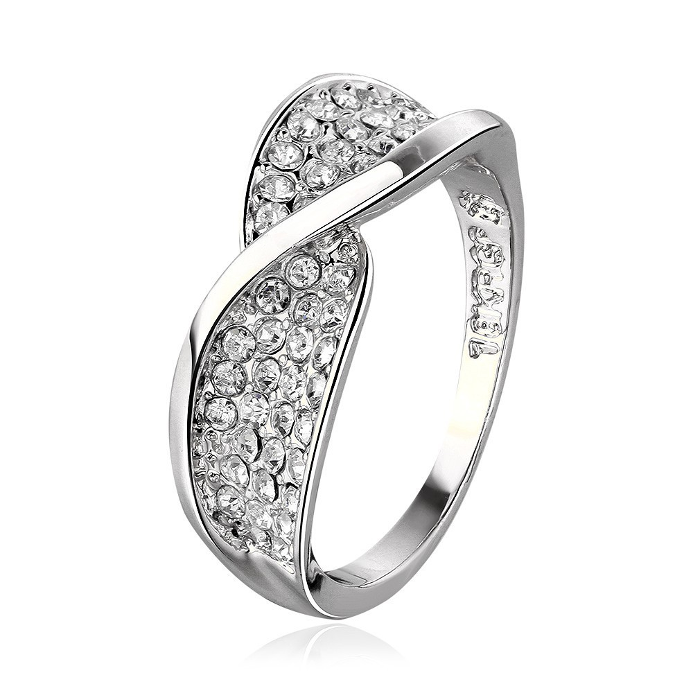 Modern 18K White Gold Plated Ring with Clear Stones