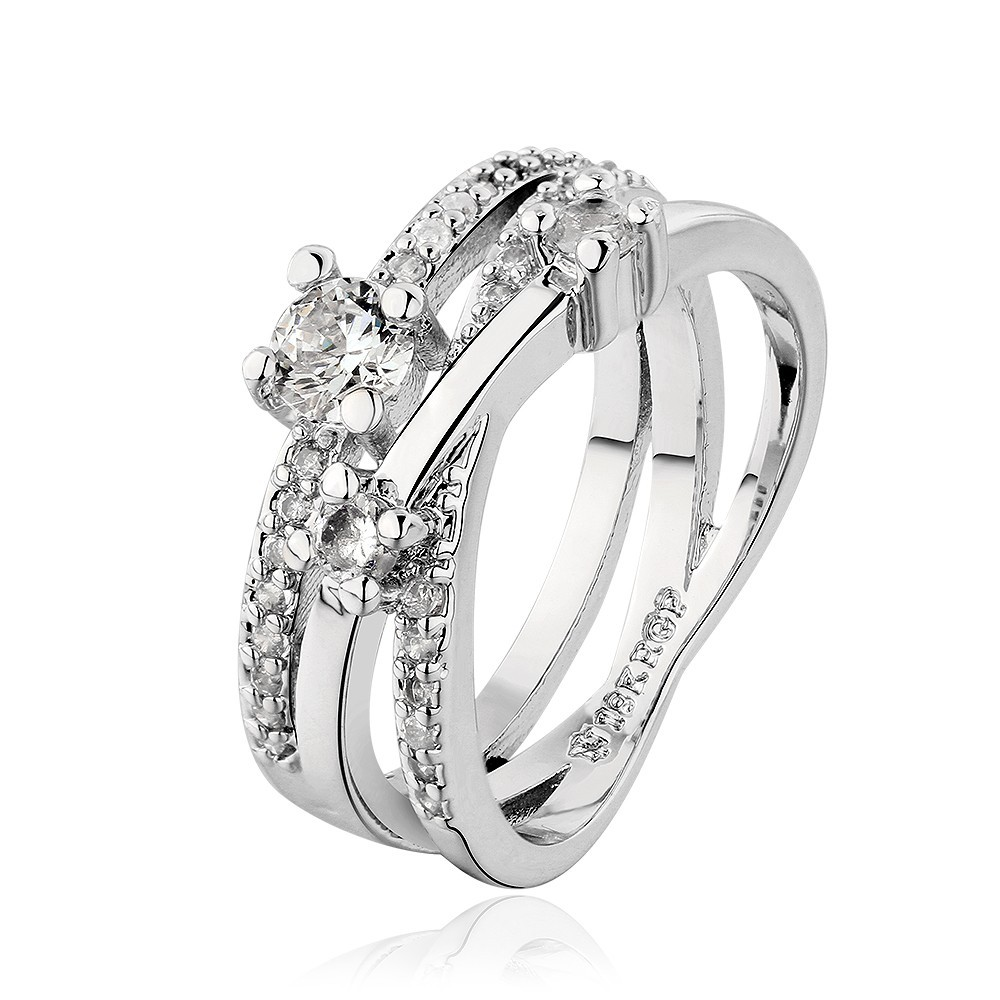 Beautiful Multi-Layered 18K White Gold Plated Ring With Rhinestones