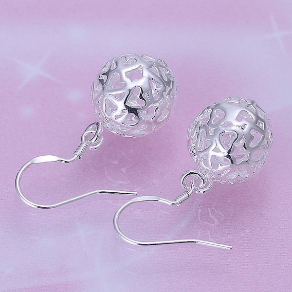 Sterling Silver Small Heart Shaped Design Dangling Earrings