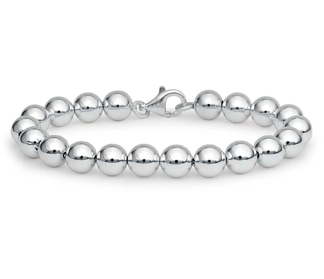 Round Silver Bead Bracelet