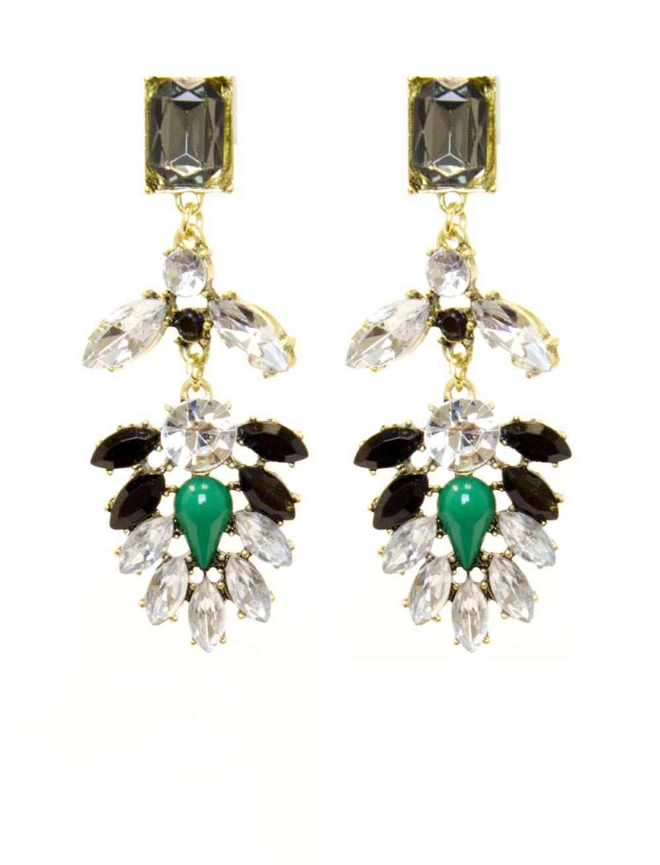 Antique Inspired Grey Rhinestone Dangle Earrings