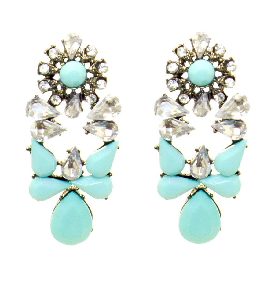 Turquoise Twinkle Statement Earrings with Shiny Stones