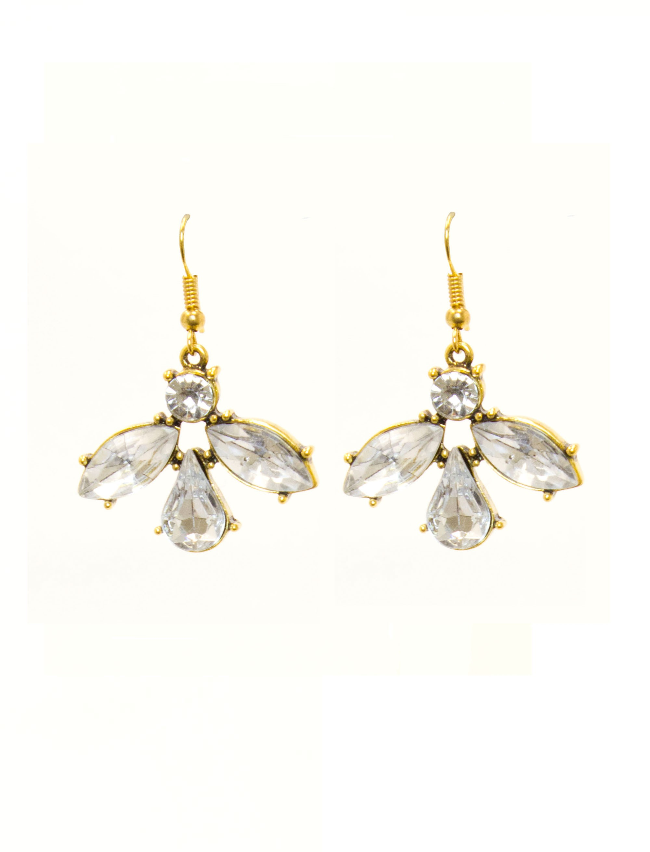 Clear Large Stones Drop Earrings