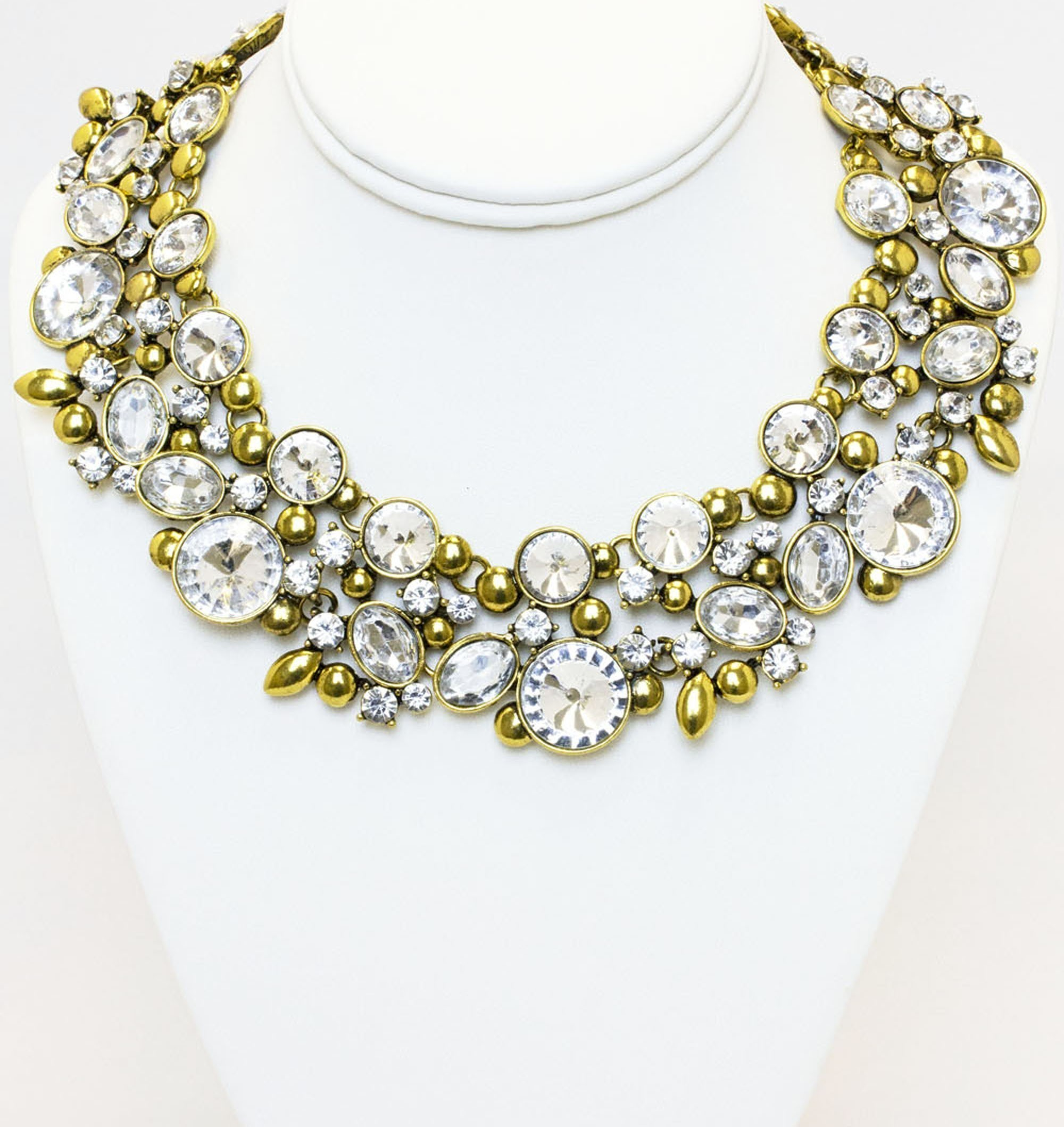 Gold Tone Plated Necklace With Clear Stones