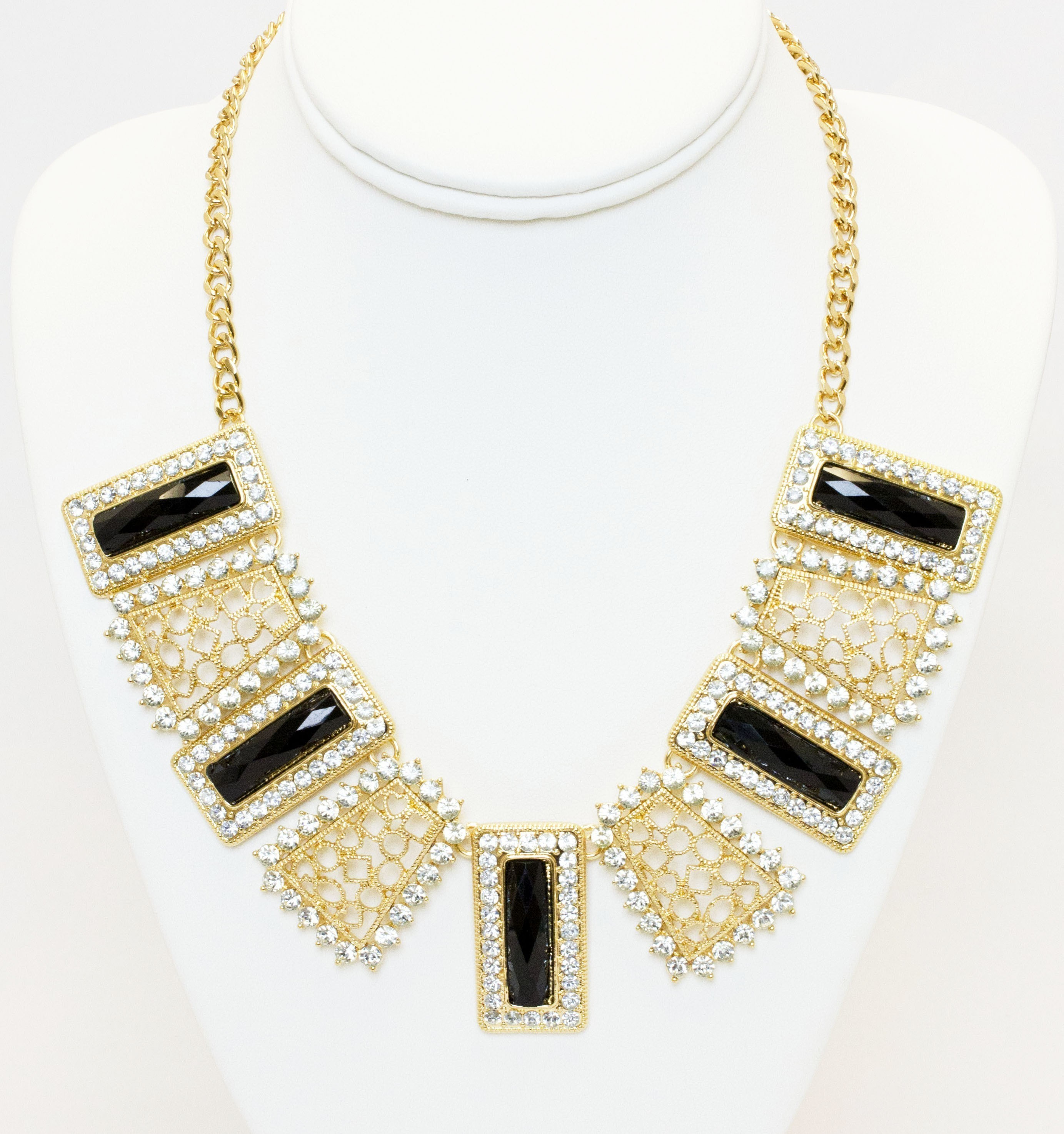 Black And Gold Collar Necklace With Crystals