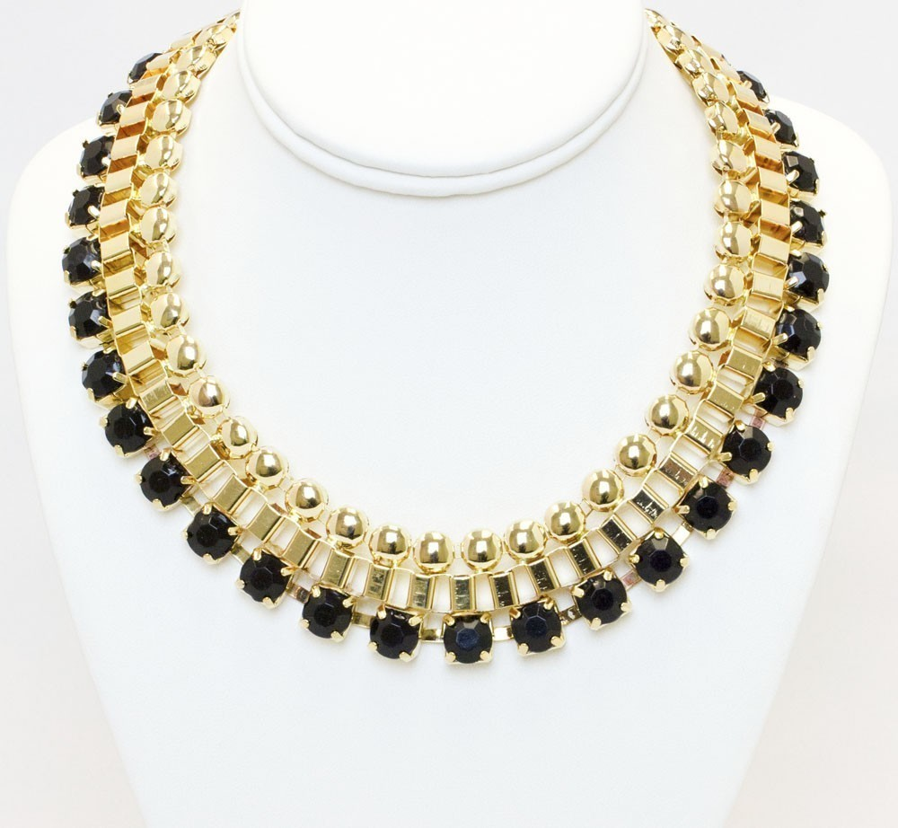 Black And Gold Statement Collar Necklace