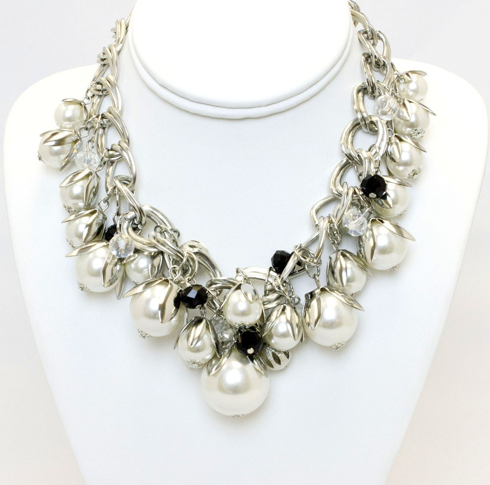 Faux Pearl Drama Necklace