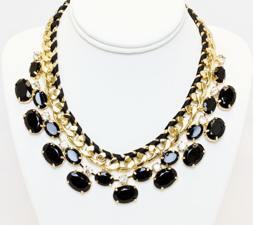 Triple Gold Necklace With Black Stones