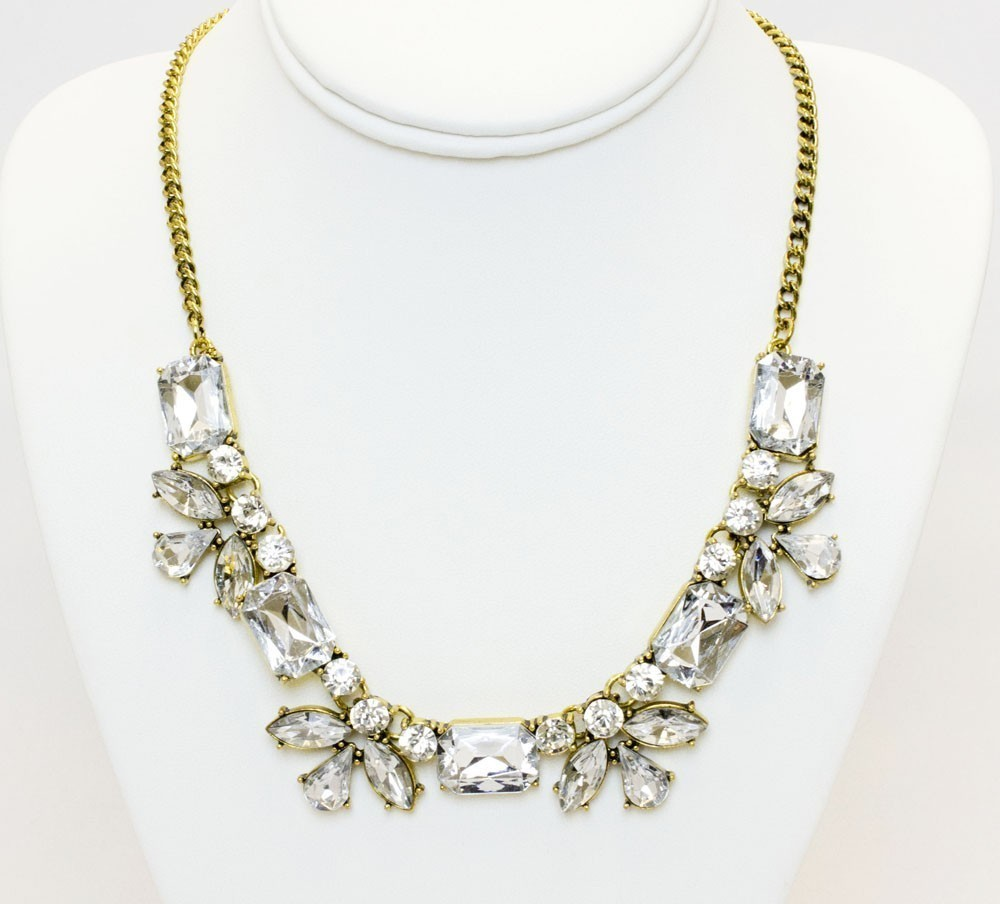 Classic Gold Necklace With Clear Stones