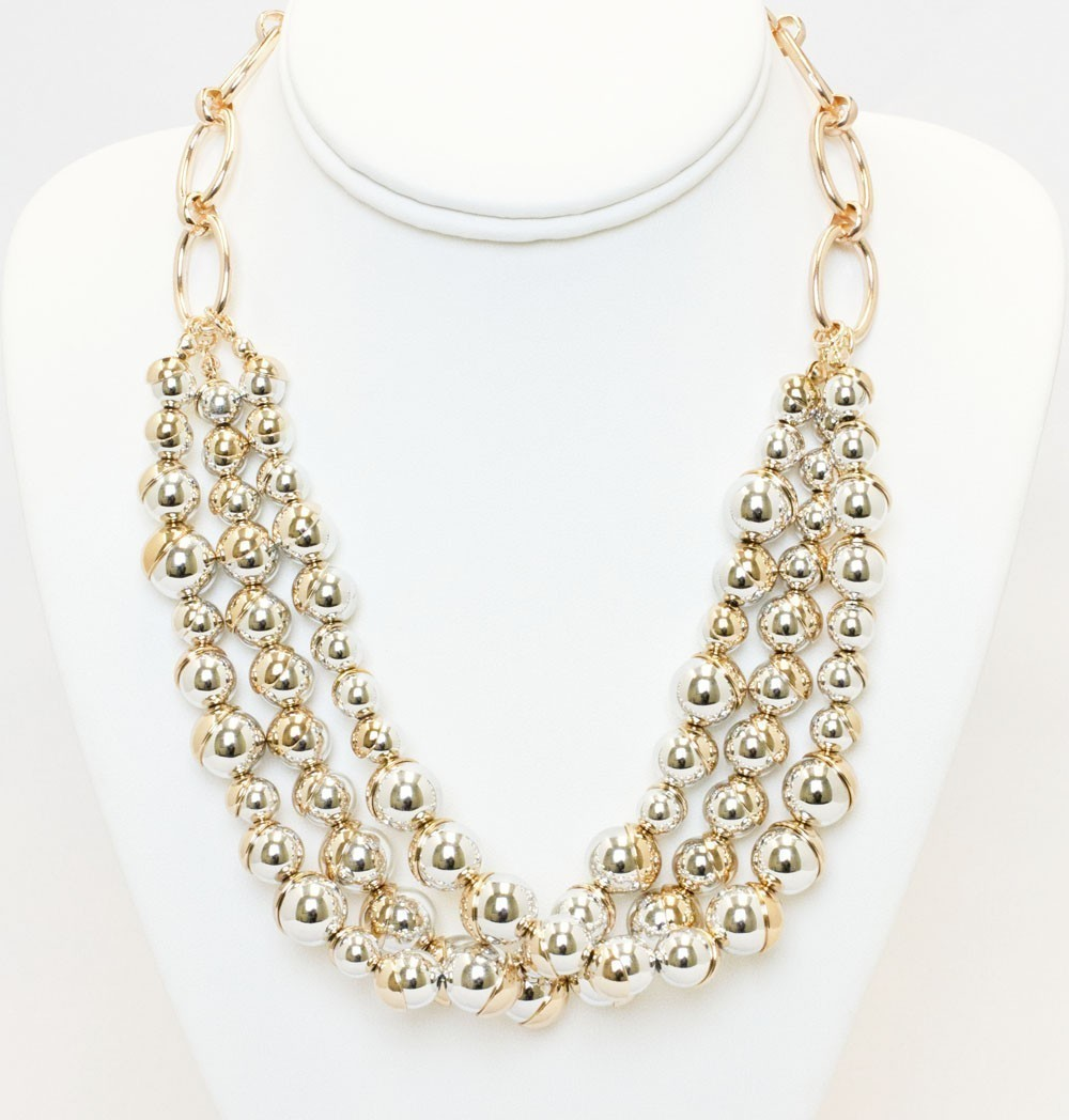 Gold And Silver Beads Necklace