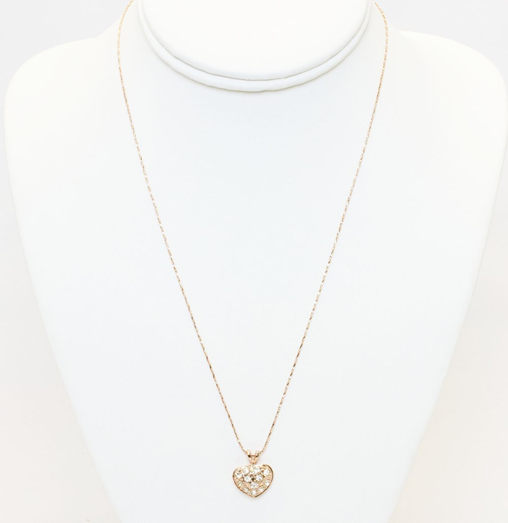 Gold Heart Pendant With Stones Necklace