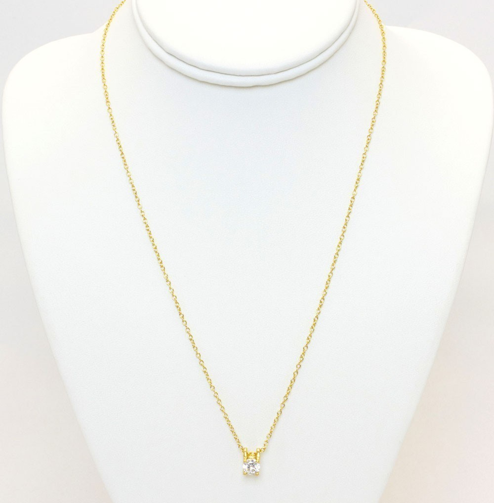 Gold Necklace With Big Clear Stone Stud