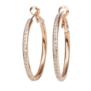 18K Rose Gold Plated Crystal Hoop Earrings