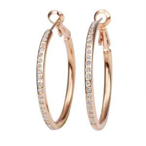 18K Rose Gold Plated Crystal Hoop Earrings