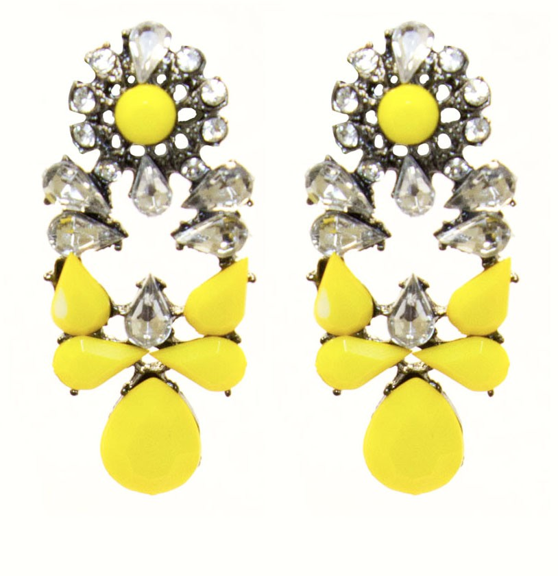 Yellow Twinkle Statement Earrings with Shiny Stones