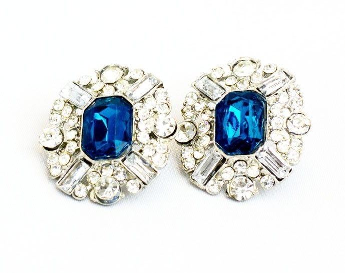 Bold Fashion Stud Earrings In Blue