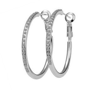 18K White Gold Plated Crystal Hoop Earrings