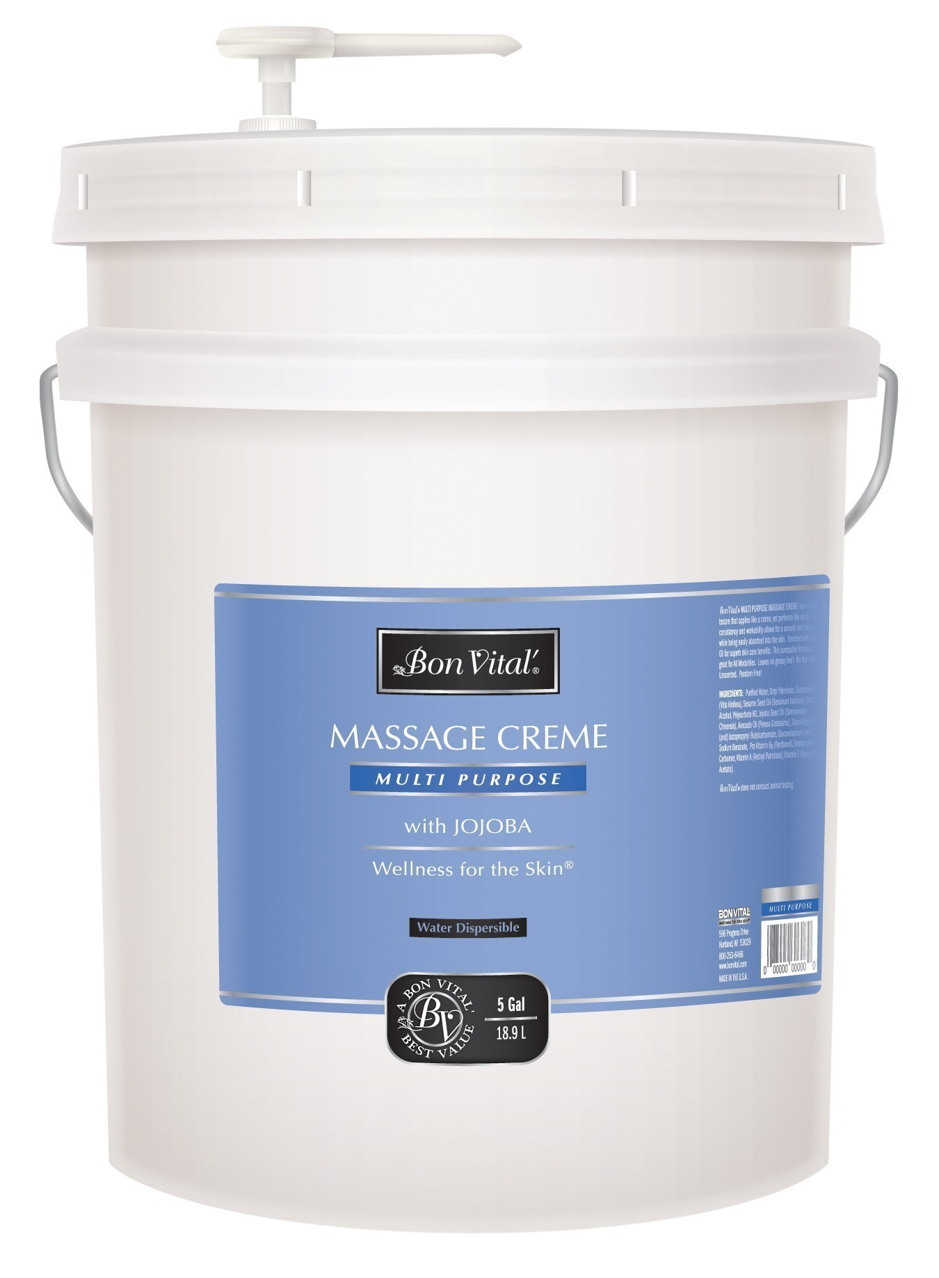 Bon Vital Multi Purpose Massage Creme 5 Gallon Pail